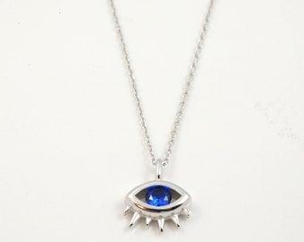 Evil eye necklace, Sterling silver evil eye necklace, evil eye, Good luck charm, Silver charm necklace, 925 silver necklace, dainty