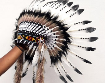 ON SALE Indian style headdress, short length, feather headpiece, native american inspired