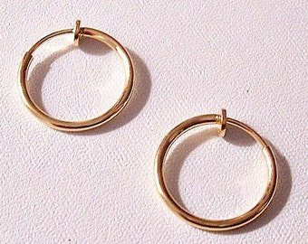 "Thin Tube 3/4"" 17 mm Hoops Clip On Earrings Gold Plated Vintage Non Pierced Plunger Style Open Ring Plain Dangles"