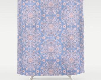 Boho Shower Curtain, Large Shower Curtain, Pink Blue Bathroom, Floral Bath Curtain, Bohemian Decor, Shower Curtain 71x74, Rose Serenity