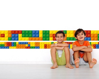 Bricks Border on Wall - Building Blocks - Bricks wall decal - Nursery Stickers - Kids Stickers - SKU:Legoinf