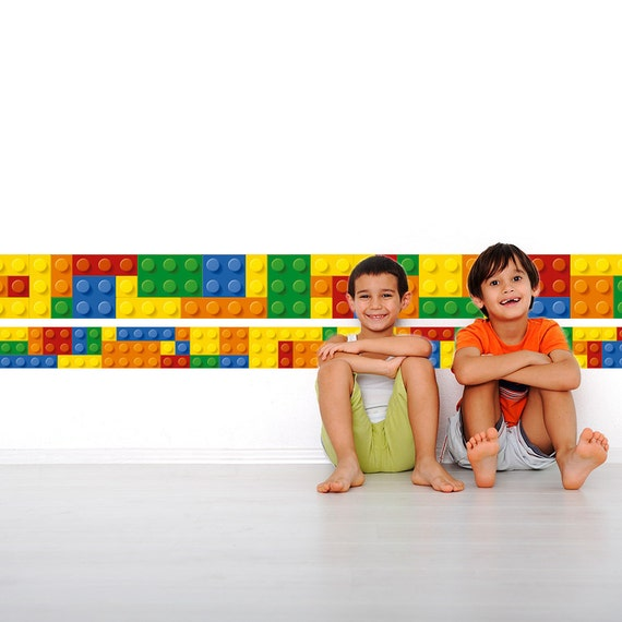 Bricks border on wall building blocks bricks wall decal - Lego wandtattoo ...