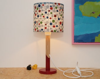 Lampe papier washi traditionnel japonais, bleu rouge et vert / traditionnal japanese washi paper lamp with blue red and green lampshade
