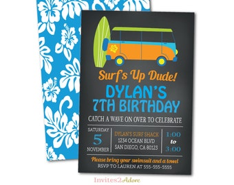 Surf Birthday Party Invitation - Surfing Pool Party - Beach Birthday Invite - Chalkboard Printable Invite