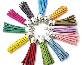 "Long Tassels - 2"" Long, 58mm Tassels - Decorative Tassels - 10 or 24, Silver Cap, Assorted Colors - Purse Tassel, Key Chain Tassel - TL-S001"