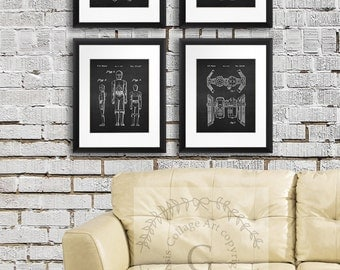 Star Wars Decor, Set of 4 Starwars Patent prints, Boys Bedroom Decor, Starwars Wall Art  C3PO, R2D2 Droid, AT-AT Imperial Walker, Tie Bomber