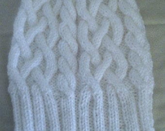 White Cabled Knit Hat, Snowy White Hat, Knit Cap, Ski Hat, Rib and Cable Beanie