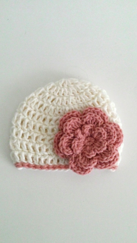 Crochet Baby Girl Hat - New Baby Gift - Newborn Pink Flower Beanie - Baby Shower Girl Gift - Baby Girl Gift Ideas - Newborn Size Beanie Hat