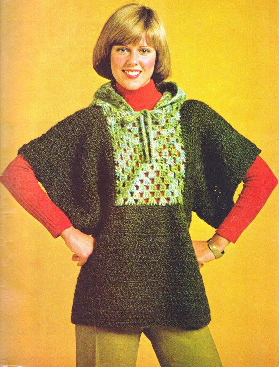 Crochet Wrap Cape-Sleeved Granny Squares Hoodie Tunic Retro