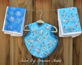 25% off: Frozen Baby Bib and Burp Cloth Set, Frozen Baby Shower Gift, Disney Baby Boy Gift, Disney Burp Cloths, Frozen Baby Gift