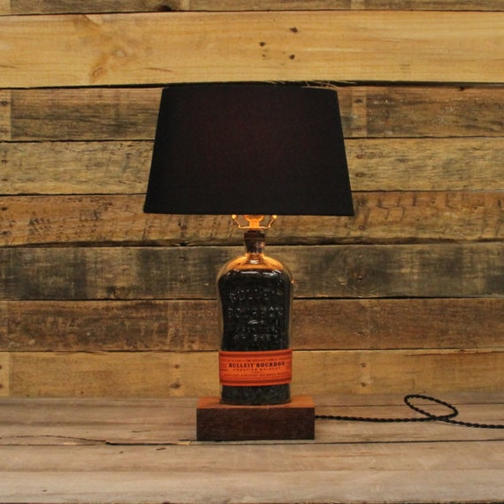 Bulleit Original Bourbon Bottle Table Lamp, Authentic Bourbon Barrel Char, Reclaimed Wood Base, Full Sized Table Lamp, Whiskey Bottle