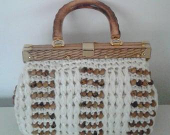 SALE /// Vintage 1950's White Straw Raffia Purse Handbag Wood Beads Handle Mid Century Mad Men