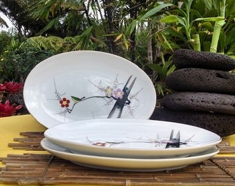Japanese Porcelain Platter Plum Blossom Design, Y.Y Yonemoto Store, Vintage Sushi/Sashimi/ Appetizer Serving Plate, Listing is for one (1)