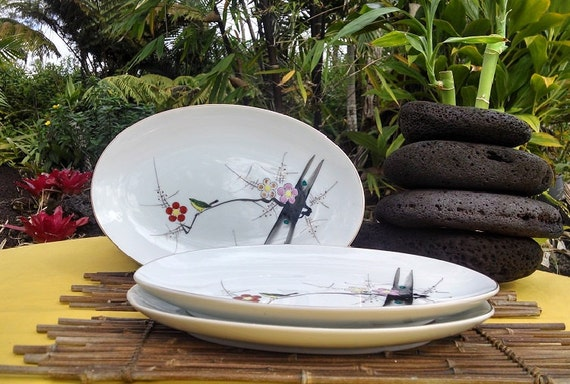 Vintage Made in Japan Serving Platters, Y.Y Yonemoto Store Porcelain Platters Plum Blossom Design, Sushi and Sashimi Serving Plates