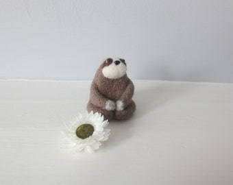 Felted SLOTH in tan cute keepsake desk buddy stocking stuffer small Mother's Day gift