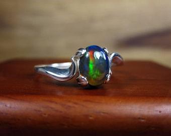 Gift for Mom, Black Opal Ring, Natural Black Opal, Dark Opal Ring, Black Gemstone Ring, Sterling Ring, Black Stone Jewelry, Promise Ring,