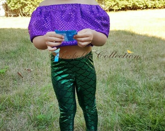 Mermaid Leggings Baby Toddler Girls Little Fish Scale Pants Birthday Gift Party Outfit Legging Costume Dot Print Photoshoot