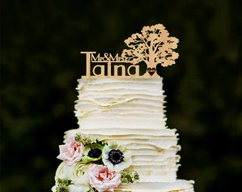 Tree Wedding Cake Topper Personalized Wood Cake Topper Rustic Cake Topper Wooden Mr Mrs Last name topper Custom name cake toppers