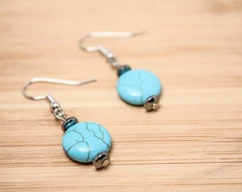 Surgical Steel Earrings - Casual Earrings - Turquoise Howlite Earrings -Round Earrings - Hematite Earrings - Turquoise Earrings