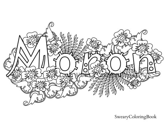 Moron Swear Words Coloring Page