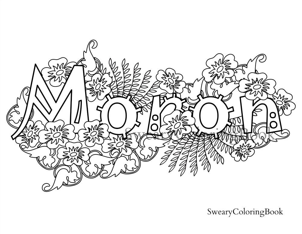 Moron Swear Word Coloring Pages Coloring Pages