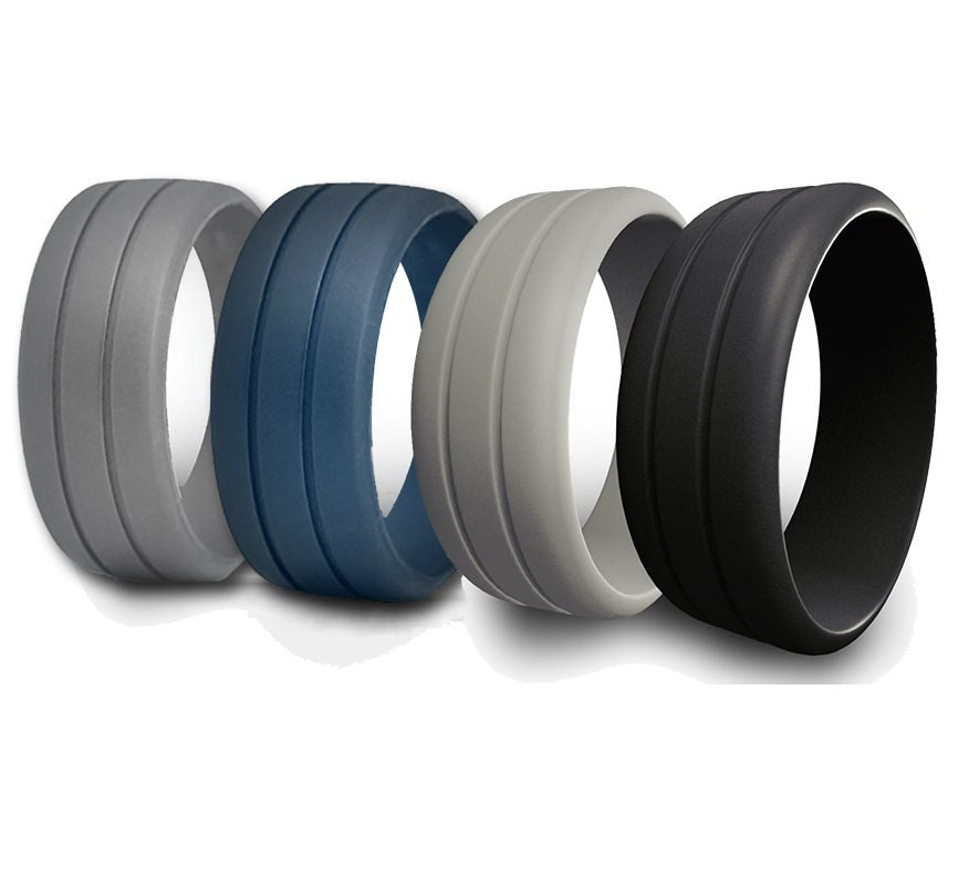 Mens Rubber Silicone Wedding Ring Band Ridged By