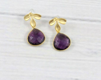 Amethyst Earrings, Leaf Earrings, Leaves Earrings, Minimal Earrings, Gemstone Earrings, Post Earrings, February Birthstone Jewelry, Small