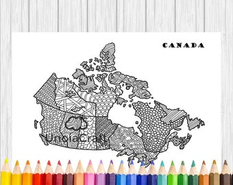 USA Map Coloring Page Usa Map Wall Art Adult Coloring - Canada map colouring page