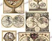 Antique Maps Globe Printable Collage Sheet Atlas diagram Instant download Junk Journals Mini Albums Journal Cards