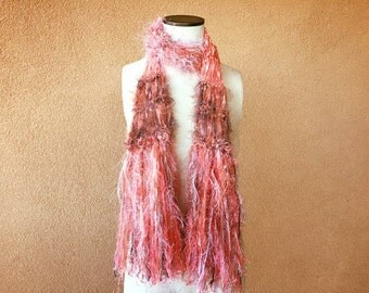 Coral Scarf, Skinny Boho with Deep Peach Scarf Taupe and Coral Scarf Coral and Grey Brown Cream Coral Pink Scarf Fringe Women Accessories