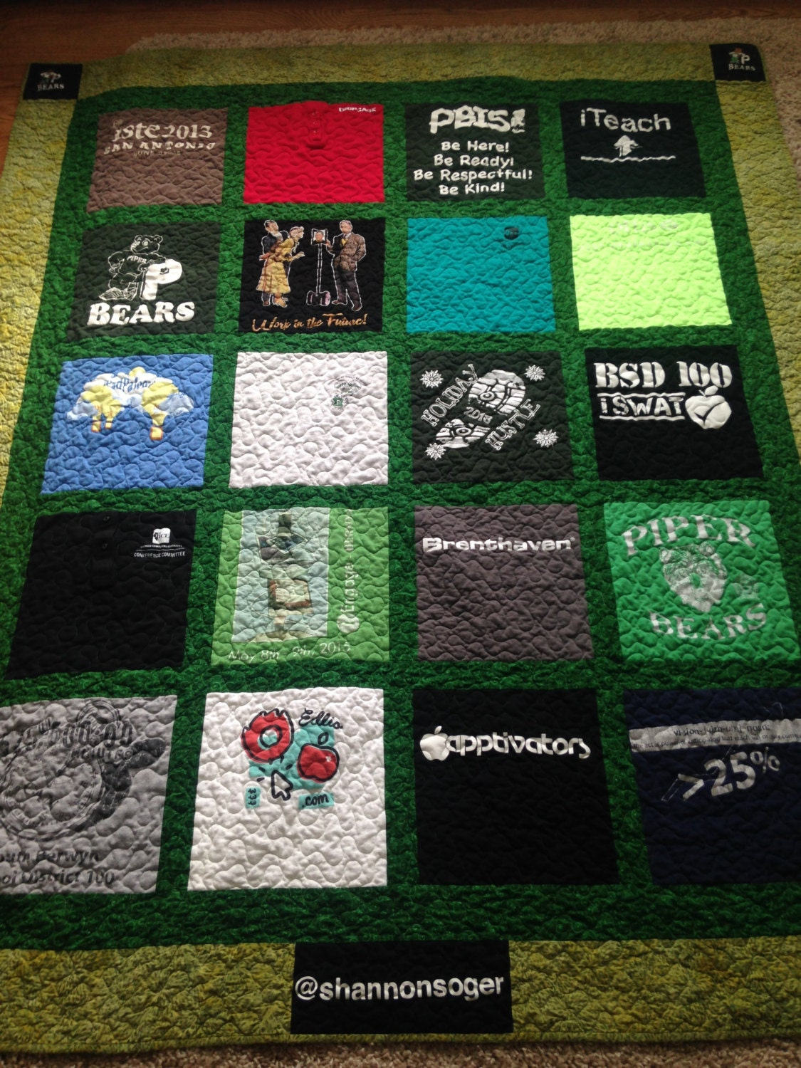 A T-shirt Quilt Pattern, twin size bed pattern for a t-shirt quilt, pdf downloadable pattern ...