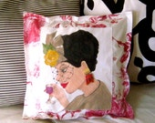 new..SOFA PILLOW..GIGI Les Femmes de Paris, hand painted pillow, Paris, French, vintage earring, veiled hat, taupe, deep red, gift for her