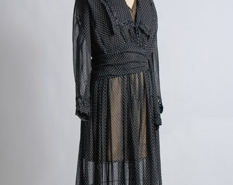 SALE- Black Edwardian Gown 1910s Antique Dress