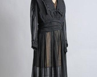 Black Edwardian Gown 1910s Antique Dress