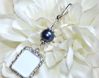 Wedding bouquet photo charm. Navy blue Memorial photo charm. Bride's bouquet charm. Bridal shower gift. Something blue for the bride to be