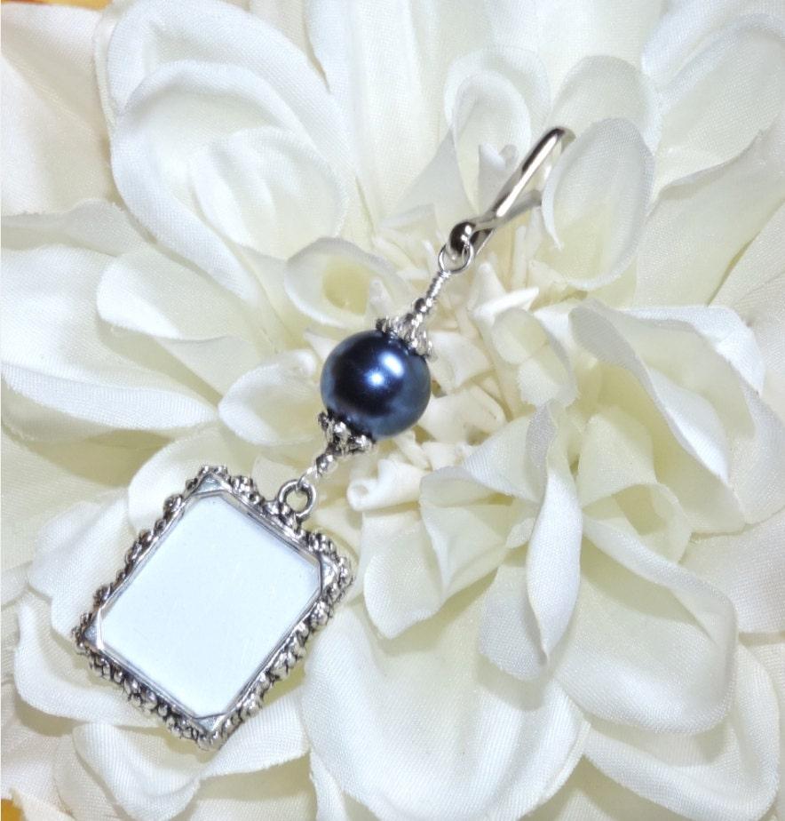Blue Bridal Bouquet Charm : Wedding bouquet photo charm navy blue memorial