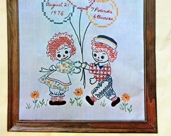 Vintage Embroidery Kit, Raggedy Ann Birth Sampler, Raggedy Andy Sampler, 1970s Needlework Kit, Stitchery Cross Stitch Sampler Kit, 70s Craft