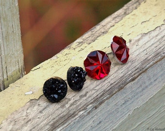 Faux Black Druzy and Red Sparkle Stud Earrings, 2 Pair Set, 10mm and 12mm with Titanium or Stainess Steel Posts, Gothic