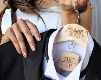 Groom Hanger, Suit Up, Personalized, Wedding Day, Groomsmen and Best Man Tux Hanger, Pants Hanger, Engraved Wood, Tuxedo, Wedding Photo Prop