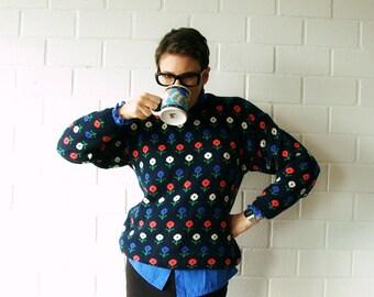 vintage navy daisy sweater - 1211038