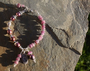 Pearls & Natural Unpolished Ruby Bracelet, Handmade Jewelry, Handcrafted Artisan Sterling Silver Bracelet