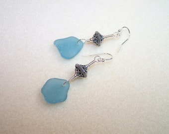 Blue Sea Glass Earrings for Women Sterling Silver Long Dangle Earings Bali Jewelry Canada Beach Glass Jewlery Small Gift Ideas for Her