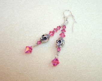 Skull Earrings for Women Pink and Silver Skull Earings Wire Wrapped Pink Crystal Long Dangle Earrings Skull Jewelry Gift Ideas for Her