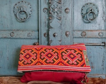 Red Leather Vintage Hilltribe Cross stitch Fold over clutch Summer Fahsion accessory