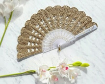 Lace Hand Fan- Gold Hand Held Fan- Bouquet Alternative- Handmade Lace Fan- Folding Hand Fan- Spanish Wedding Fan- Bridal Fan- Wedding Prop