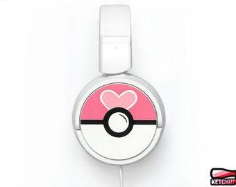Pokemon gift for her headphones personalized birthday gift women Pokeball unique gamer girl red pink love heart cute earphones