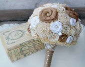 Cream, White, & Natural Burlap Bride's Bouquet - Sola Wood Flowers, Handmade Fabric Rosettes, Burlap, Pearls - Shabby Chic - The Sunnybee