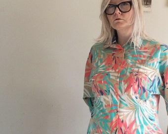 SALE! Hawaiian Tropical Shirt. 1980s Palm Leaves Cotton Beach Wear