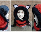 Crochet Fox Cowl, Hat, Scarf, Hood