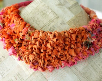 Silk Necklace, Fabric Necklace, Chunky Necklace, Textile Necklace Fiber Art Necklace, Fabric Jewelry, Orange Woven Necklace, Recycled Sari